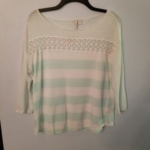 3/4 sleeve top with lace accent
